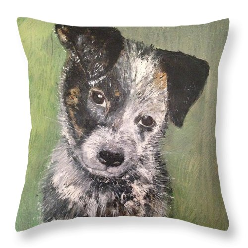 Blue Heeler / Black Lab Puppy Throw Pillow featuring the painting Macy As A Puppy by Diane Donati