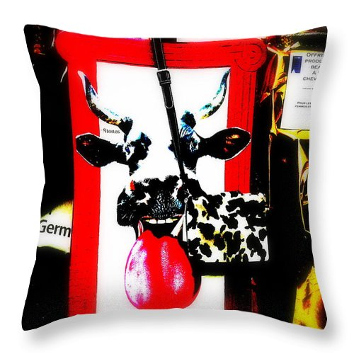 Abstract Throw Pillow featuring the photograph Mad Cow ...framed by Funkpix Photo Hunter