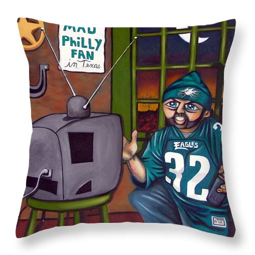 Philadelphia Throw Pillow featuring the painting Mad Philly Fan In Texas by Elizabeth Lisy Figueroa