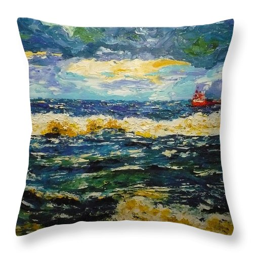Sea Throw Pillow featuring the painting Mad Sea by Ericka Herazo