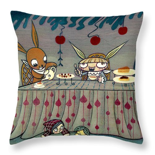 Alice In The Wonderland Throw Pillow featuring the painting Mad Tea Party by Kaori Hamura Long