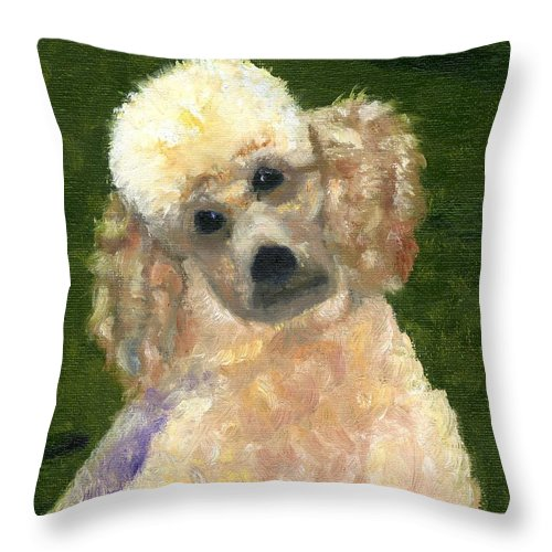 Poodle Throw Pillow featuring the painting Madam Fifi by Gloria Condon