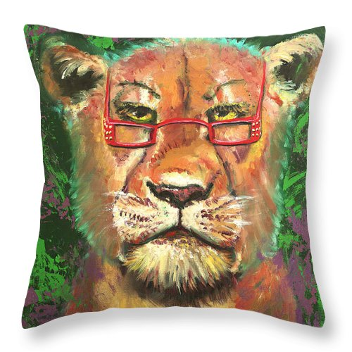 Lion Throw Pillow featuring the painting Madam Lion by Peter Bonk