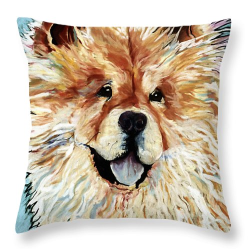 Chow Chow Throw Pillow featuring the pastel Madame Chu Cho by Pat Saunders-White