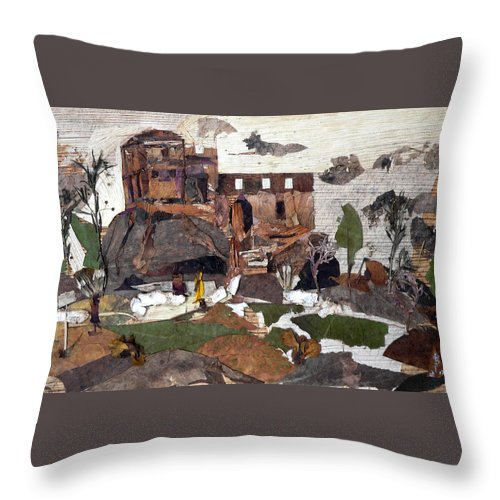 Palace Made By King Madan Shah Throw Pillow featuring the mixed media Madan Mahal by Basant Soni