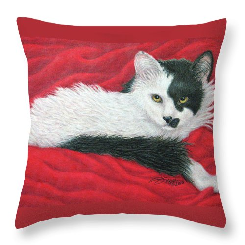 Pet Portraits Throw Pillow featuring the drawing Maddie In Red by Beverly Fuqua