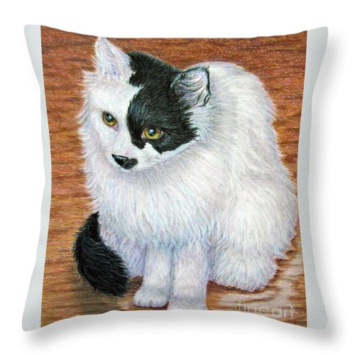 Fuqua - Artwork Throw Pillow featuring the drawing Maddie In Waiting by Beverly Fuqua