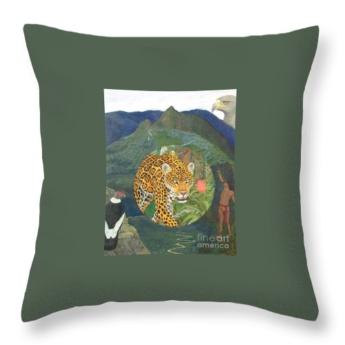 Jaguar Throw Pillow featuring the painting Made In America by Juan Enrique Marquez