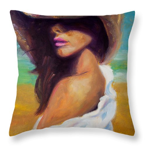 Girl Throw Pillow featuring the painting Made In The Shade by Jason Reinhardt