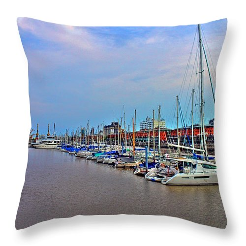 Buenos Throw Pillow featuring the photograph Madero Boat Yard by Francisco Colon