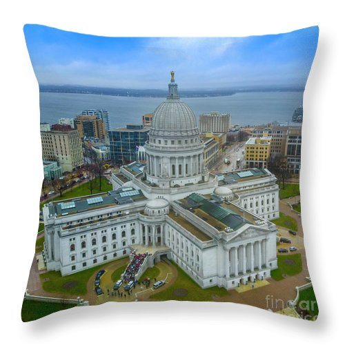Madison Throw Pillow featuring the photograph Madison Wisconsin by Randy Kostichka
