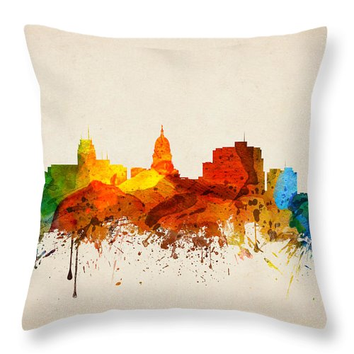 madison wisconsin skyline 16 throw pillow for sale by aged pixel