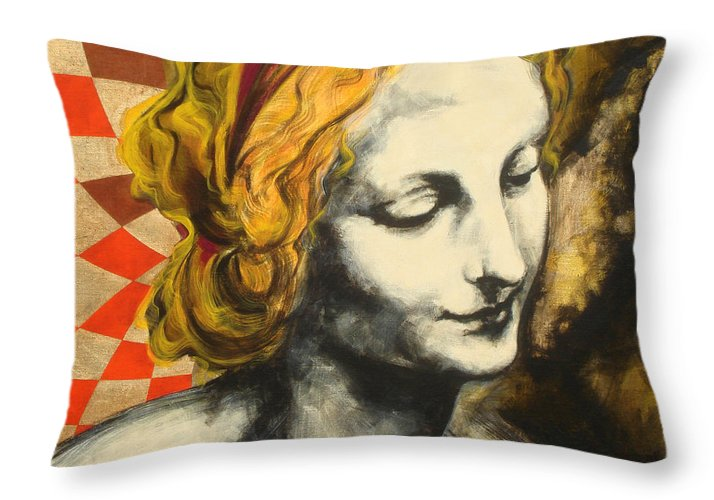 Pop Throw Pillow featuring the painting Madona Face by Jean Pierre Rousselet