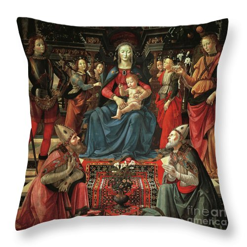 Ghirlandaio Throw Pillow featuring the painting Madonna And Child Enthroned With Saints by Domenico Ghirlandaio