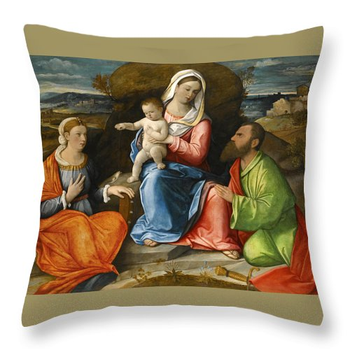 Pietro Degli Ingannati Throw Pillow featuring the painting Madonna And Child With A Goldfinch With Saints Catherine And Paul Before An Extensive Landscape by Pietro degli Ingannati