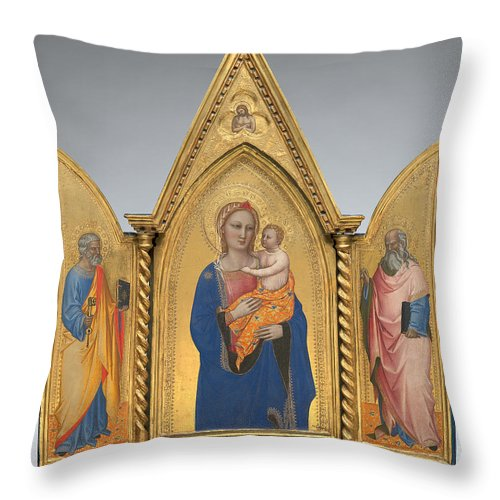 Throw Pillow featuring the painting Madonna And Child With Saint Peter And Saint John The Evangelist [middle Panel] by Nardo Di Cione