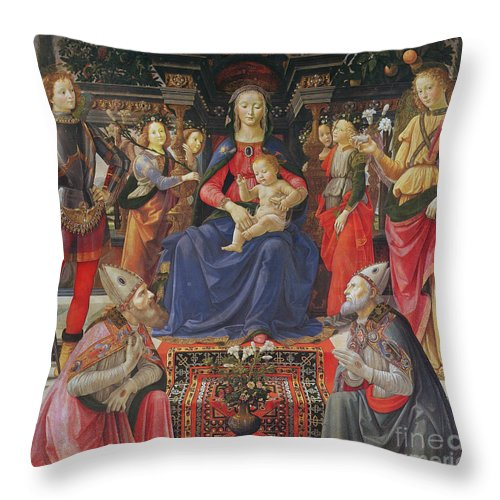 Madonna And Child Throw Pillow featuring the painting Madonna And Child With Ss Justus, Zenobius And The Archangels Michael And Raphael by Domenico Ghirlandaio