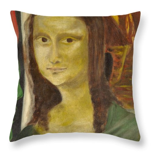 Madonna Throw Pillow featuring the painting Madonna In Africa by Emeka Okoro