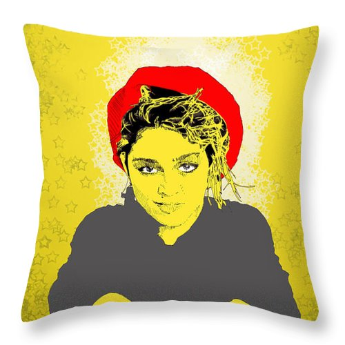 Madona Throw Pillow featuring the digital art Madonna On Yellow by Jason Tricktop Matthews