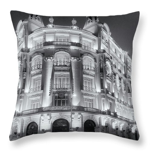 Architectural Throw Pillow featuring the photograph Madrid At Night by Joan Carroll