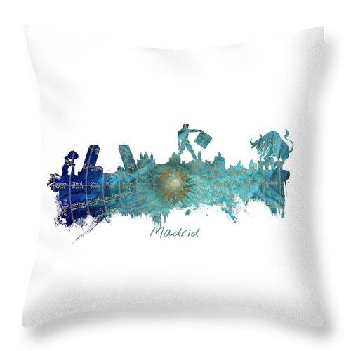 Madrid Throw Pillow featuring the digital art Madrid by Justyna JBJart