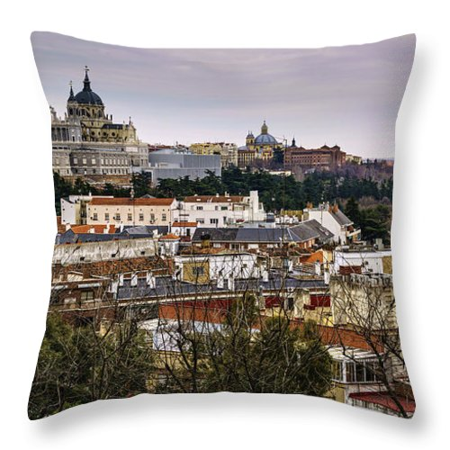 Spain Throw Pillow featuring the photograph Madrid Panorama From Debod Lookout Madrid Spain by Pablo Avanzini