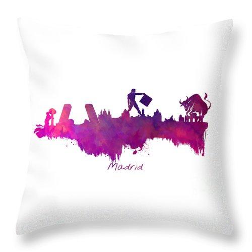 Madrid Throw Pillow featuring the digital art Madrid Skyline City by Justyna JBJart
