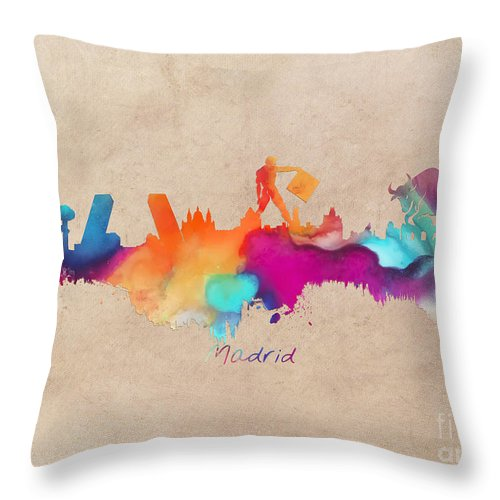 Madrid Throw Pillow featuring the digital art Madrid Skyline by Justyna JBJart