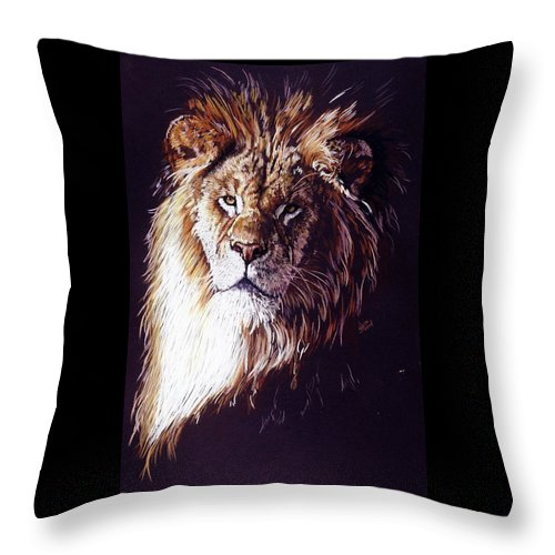 Lion Throw Pillow featuring the drawing Maestro by Barbara Keith