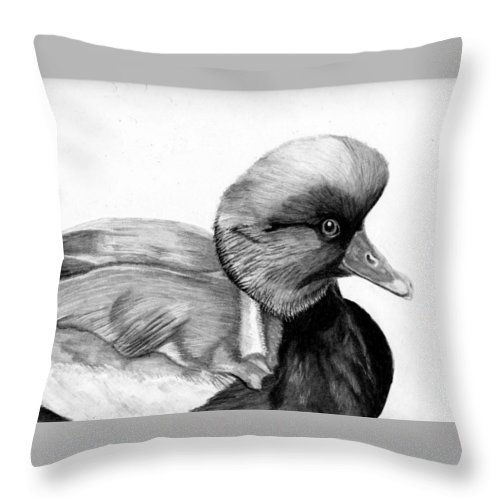 Red Crested Pochard Throw Pillow featuring the drawing Red Crested Pochard by Jay Johnston