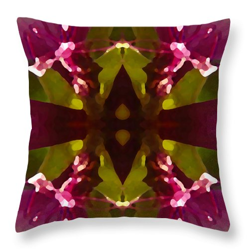 Abstract Painting Throw Pillow featuring the digital art Magent Crystal Flower by Amy Vangsgard
