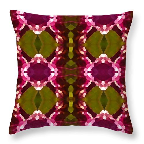 Abstract Throw Pillow featuring the painting Magenta Crystal Pattern by Amy Vangsgard