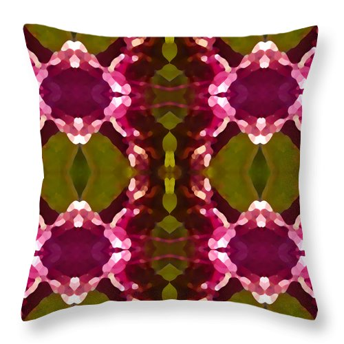 Abstract Painting Throw Pillow featuring the digital art Magenta Crystals Pattern 2 by Amy Vangsgard