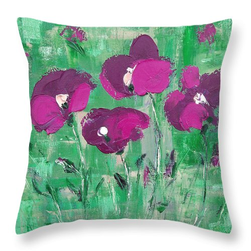 Magenta Throw Pillow featuring the painting Magenta Poppies by Gina De Gorna