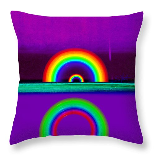 Rainbow Throw Pillow featuring the painting Magenta Sunset by Charles Stuart