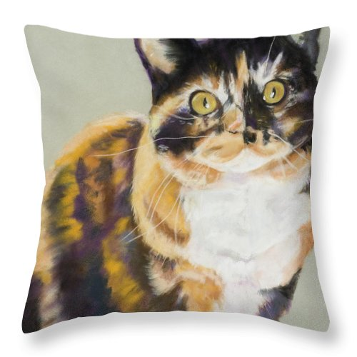 Calico Throw Pillow featuring the painting Maggie Mae by Pat Saunders-White