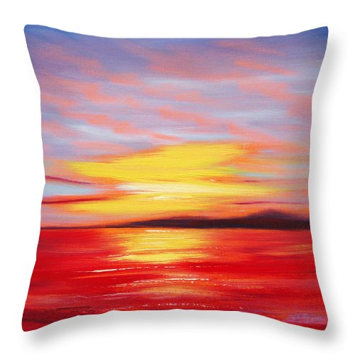 Sunset Original Painting Gold Yellow Red And Orange Colors Art By Gina De Gorna Seascape Abstract Throw Pillow featuring the painting Magic At Sunset by Gina De Gorna
