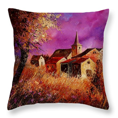 Landscape Throw Pillow featuring the painting Magic Autumn by Pol Ledent