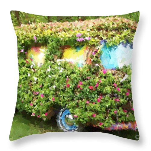 Volkswagen Throw Pillow featuring the photograph Magic Bus by Debbi Granruth