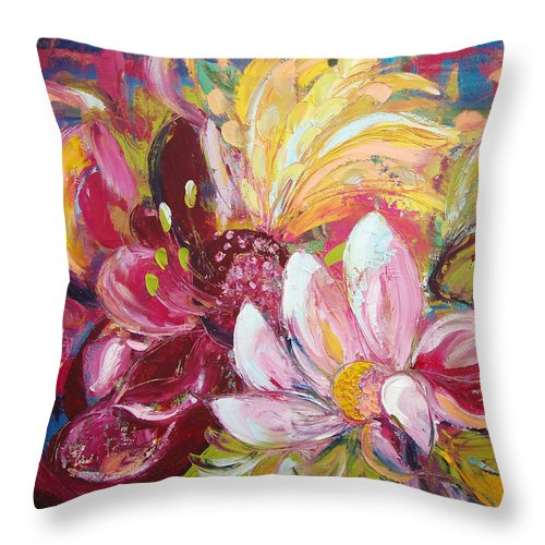 Magic Throw Pillow featuring the painting Magic Flowers by Gina De Gorna
