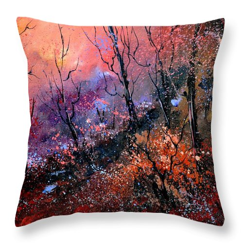 Forest Throw Pillow featuring the painting Magic Forest by Pol Ledent