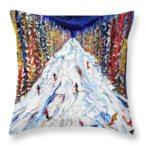 Klosters Throw Pillow featuring the painting Magic In The Trees To Klosters by Pete Caswell