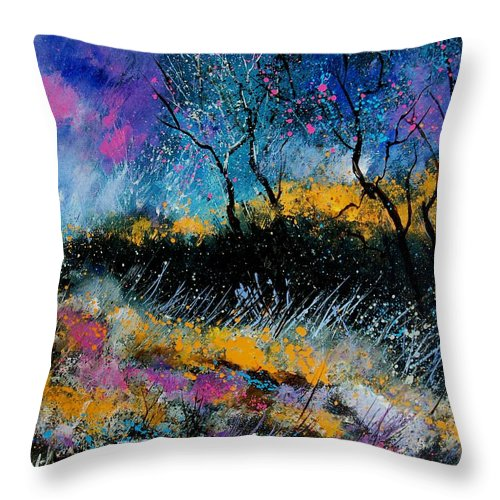 Landscape Throw Pillow featuring the painting Magic Morning Light by Pol Ledent