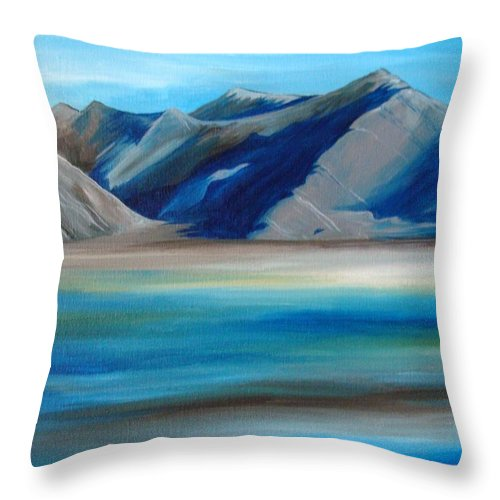 Blue Throw Pillow featuring the painting Magic Mountains by Ramneek Narang