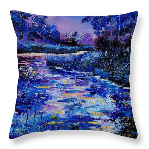 River Throw Pillow featuring the painting Magic Pond by Pol Ledent