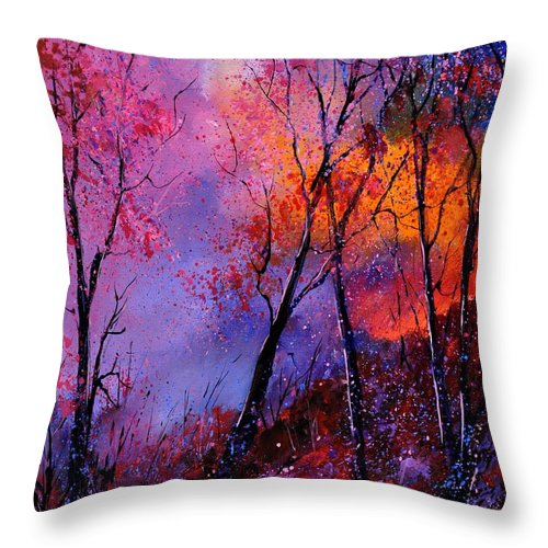 Landscape Throw Pillow featuring the painting Magic trees by Pol Ledent