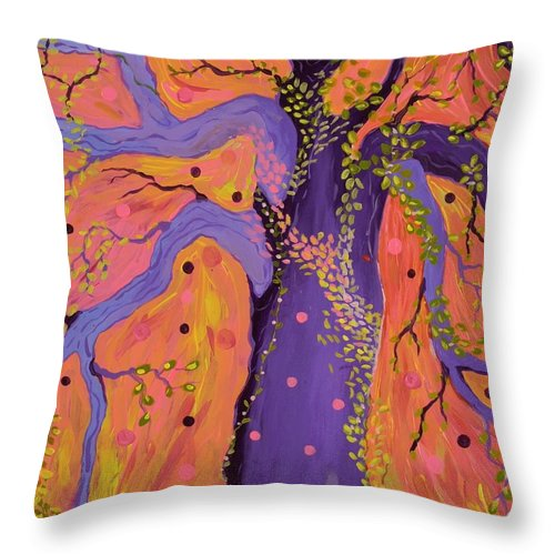 Tree Throw Pillow featuring the painting Magical by Alison Caltrider