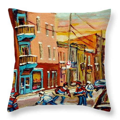 Hockey Throw Pillow featuring the painting Magical Hockey Game by Carole Spandau