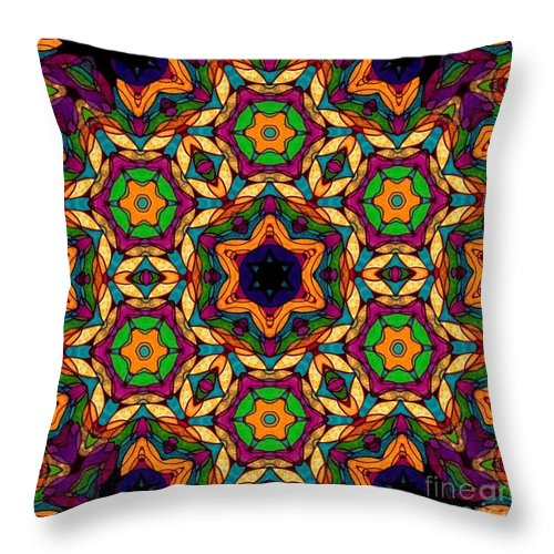 Original Tissue Paper On Black Canvas Digital Photograph Breena Briggeman Kaleidoscope Fractal Continuous Pattern Abstract Modern Contemporary Home Office Decor Wall Art Round Beach Towels Throw Pillows Shower Curtains Tote Bag Phone Case Purple Blue Yellow Orange Green Black Throw Pillow featuring the digital art Magical Matrix by Breena Briggeman