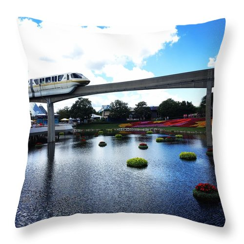 Monorail Throw Pillow featuring the photograph Magical Monorail Ride by Debra K Gallagher